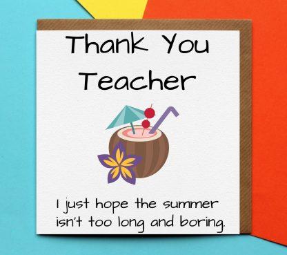 Thank you teacher home schooling card
