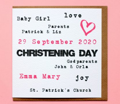 A personalised christening card