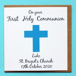 A personalised first holy communion card for a boy